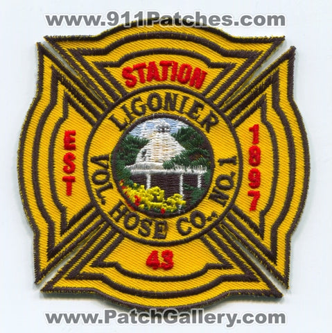 Ligonier Volunteer Hose Company Number 1 Station 43 Fire Department Patch Pennsylvania PA