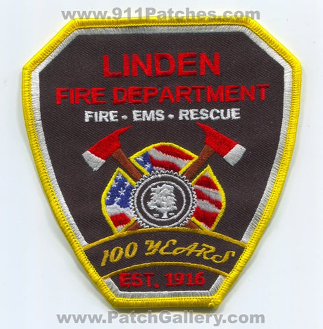 Linden Fire Department 100 Years Patch New Jersey NJ v2