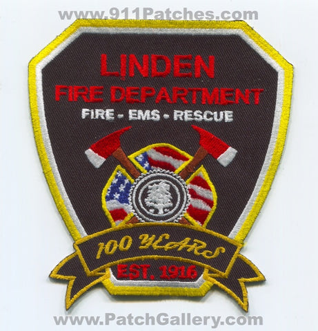 Linden Fire Department 100 Years Patch New Jersey NJ