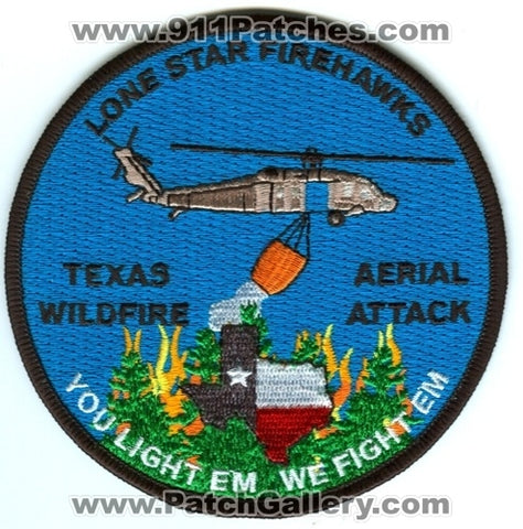 Lone Star Firehawks Wildfire Aerial Attack Helicopter Forest Fire Wildland Patch Texas TX