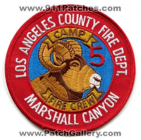 Los Angeles County Fire Department Camp 5 Fire Crew Marshall Canyon Patch California CA