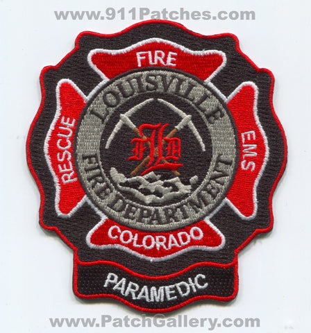 Louisville Fire Department Paramedic EMS Patch Colorado CO