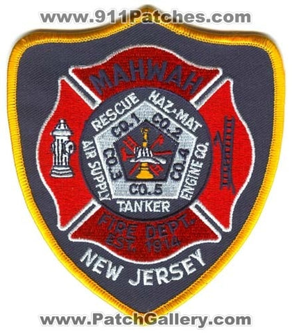 Mahwah Fire Department Patch New Jersey NJ