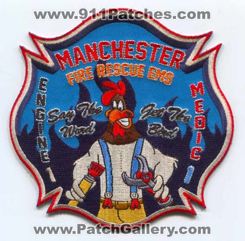 Manchester Fire Rescue EMS Department Engine 1 Medic 1 Patch Connecticut CT