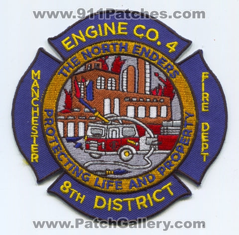 Manchester Fire Department Engine 4 8th District Patch Connecticut CT