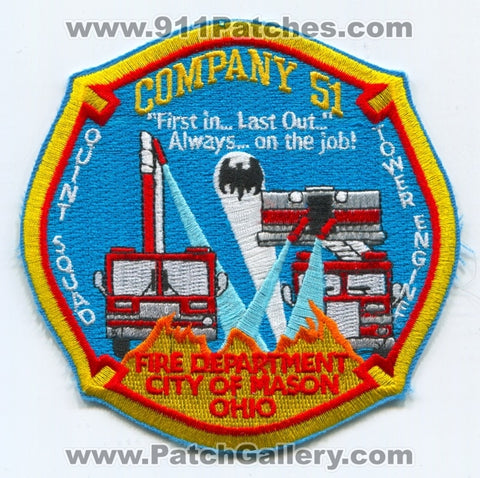 Mason Fire Department Company 51 Patch Ohio OH