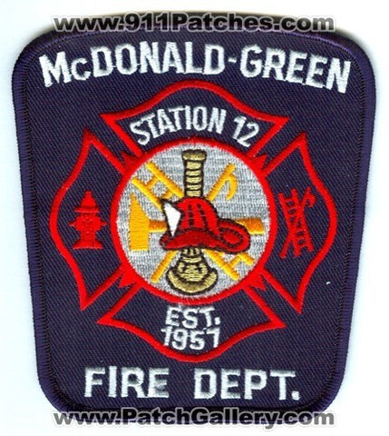 McDonald Green Fire Department Station 12 Patch South Carolina SC