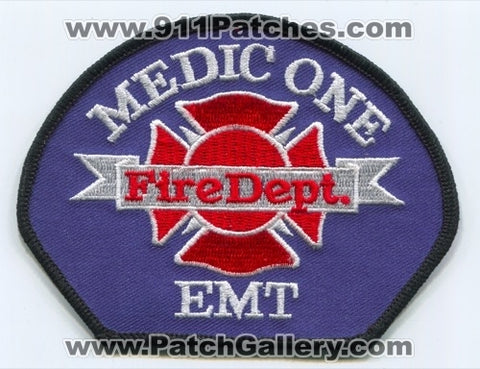 Medic One Fire Department EMT EMS Patch Washington WA