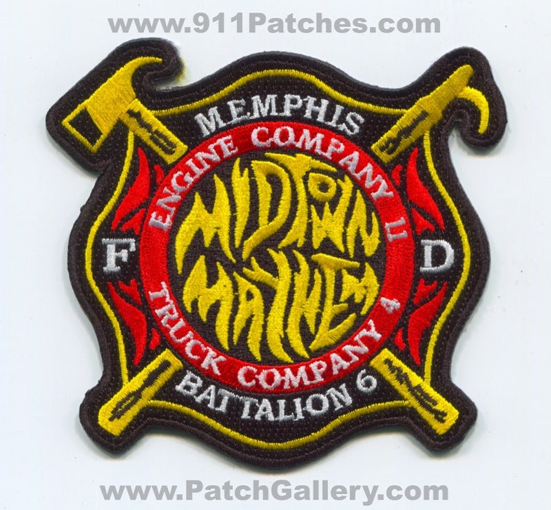 Memphis Fire Department Engine 11 Truck 4 Battalion 6 Patch Tennessee TN