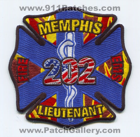 Memphis Fire Department EMS Lieutenant 202 Patch Tennessee TN