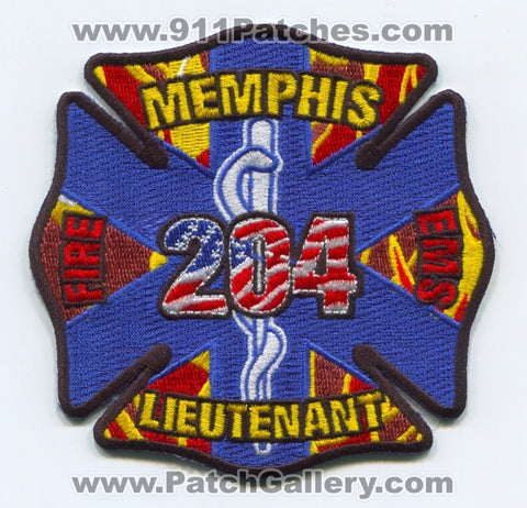 Memphis Fire Department EMS Lieutenant 204 Patch Tennessee TN