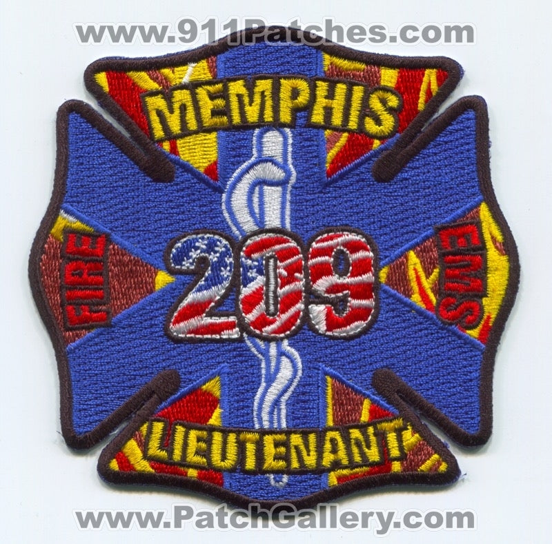 Memphis Fire Department EMS Lieutenant 209 Patch Tennessee TN