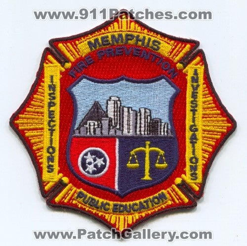 Memphis Fire Department Fire Prevention Patch Tennessee TN