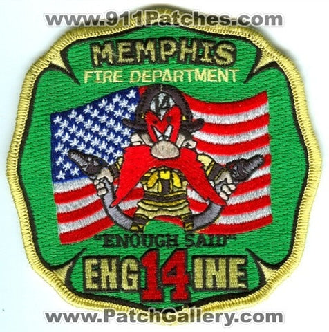 Memphis Fire Department Engine 14 Patch Tennessee TN