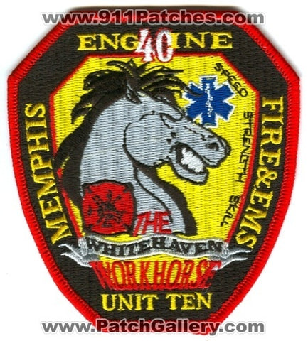 Memphis Fire Department Engine 40 Unit 10 Patch Tennessee TN