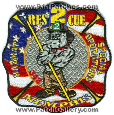 Memphis Fire Department Rescue 2 HazMat Special Operations Patch Tennessee TN