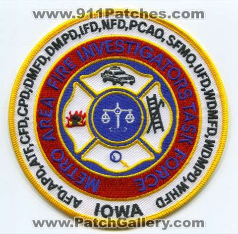Metro Area Fire Investigators Task Force Patch Iowa IA