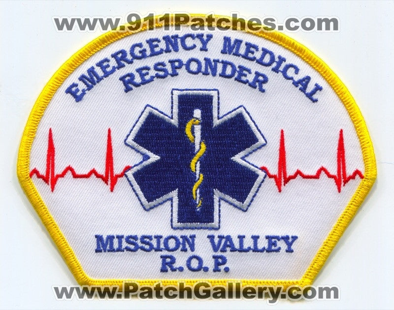 Mission Valley ROP Emergency Medical Responder EMS Patch California CA