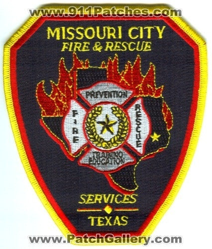 Missouri City Fire and Rescue Department Services Patch Texas TX