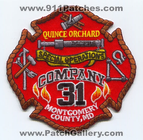 Montgomery County Fire and Rescue Service Company 31 Patch Maryland MD