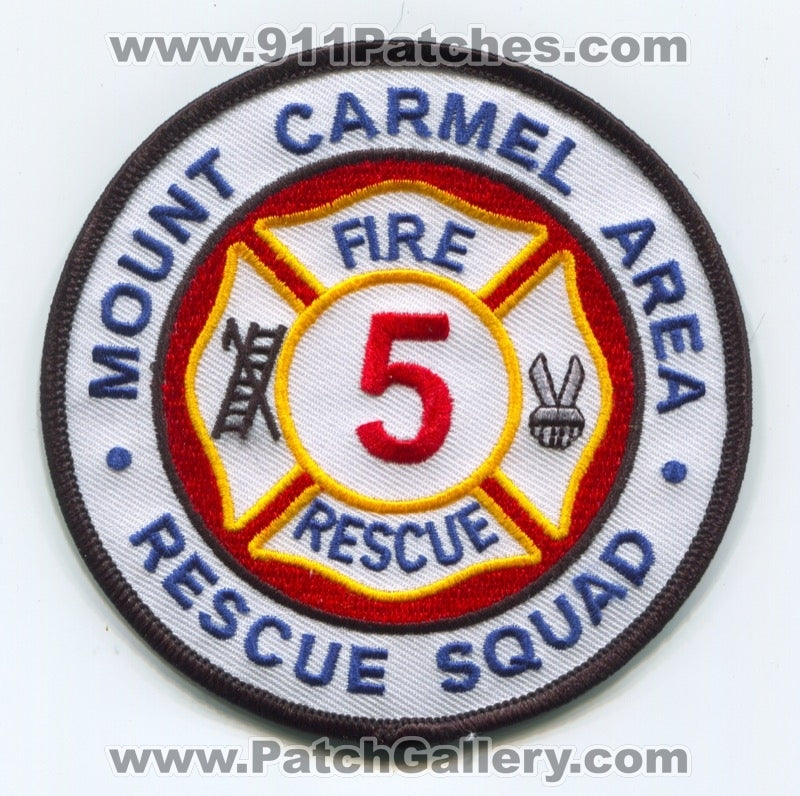 Mount Carmel Area Rescue Squad 5 Fire Department Patch Pennsylvania PA