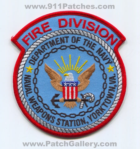 Naval Weapons Station NWS Yorktown Fire Division USN Navy Military Patch Virginia VA