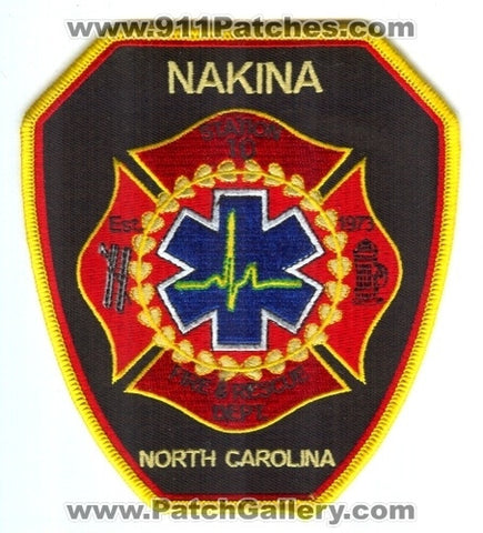 Nakina Fire and Rescue Department Station 10 Patch North Carolina NC