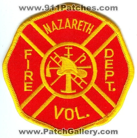 Nazareth Volunteer Fire Department Patch Pennsylvania PA
