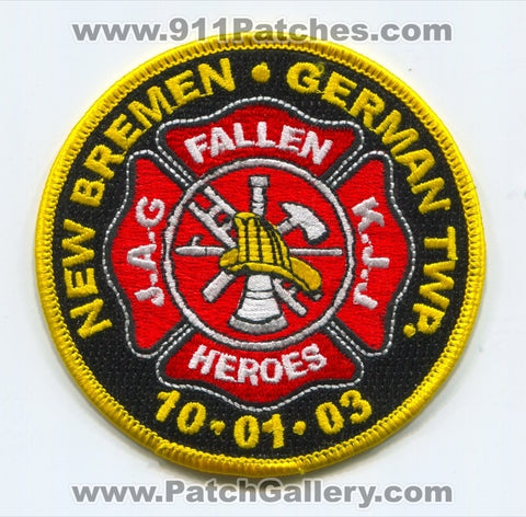New Bremen German Township Fire Department Fallen Heroes Patch Ohio OH