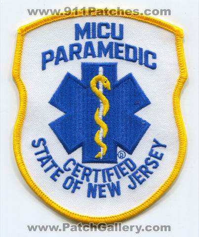 New Jersey State Certified MICU Paramedic EMS Patch New Jersey NJ