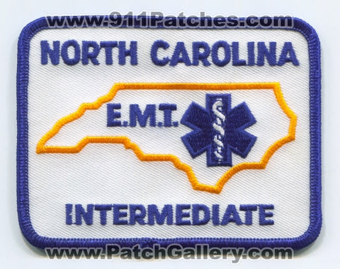 North Carolina State Emergency Medical Technician EMT Intermediate EMS Patch North Carolina NC