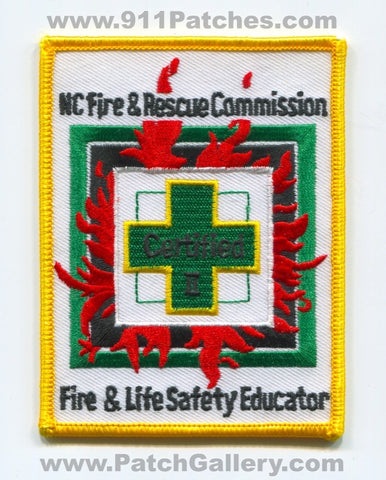 North Carolina State Certified Fire and Life Safety Educator II Patch North Carolina NC