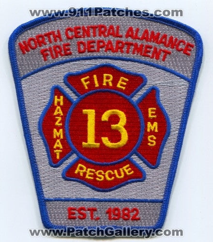 North Central Alamance Fire Department 13 Patch North Carolina NC