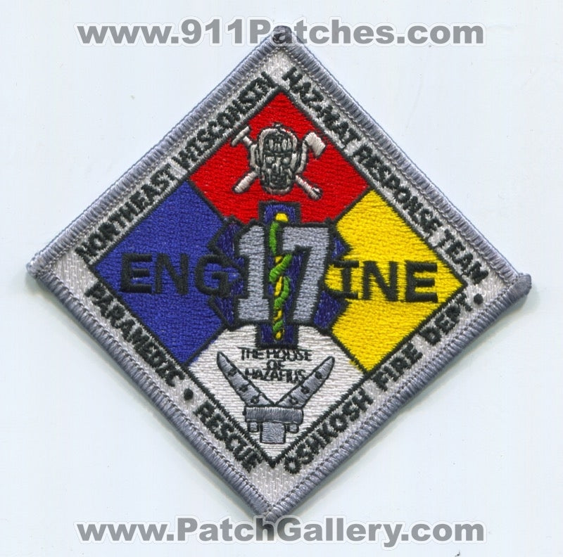 Oshkosh Fire Department Engine 17 Northeast Wisconsin Haz-Mat Patch Wisconsin WI
