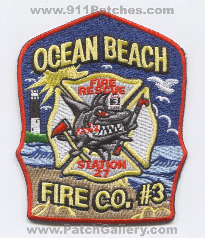 Ocean Beach Fire Rescue Department Company 3 Station 27 Patch New Jersey NJ
