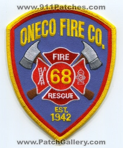 Oneco Fire Rescue Company 68 Patch Connecticut CT
