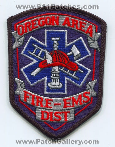 Oregon Area Fire EMS District Patch Wisconsin WI