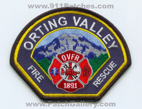 Orting Valley Fire Rescue Department Patch Washington WA