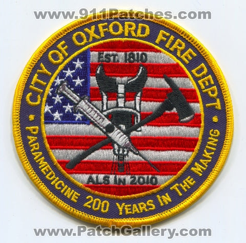 Oxford Fire Department Paramedicine Patch Ohio OH