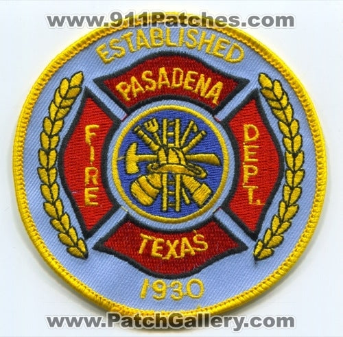Pasadena Fire Department Patch Texas TX