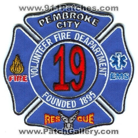 Pembroke City Volunteer Fire Department 19 Patch North Carolina NC