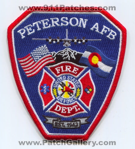 Peterson Air Force Base AFB Fire Department USAF Military Patch Colorado CO
