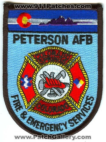 Peterson Air Force Base AFB Fire and Emergency Services USAF Military Patch Colorado CO