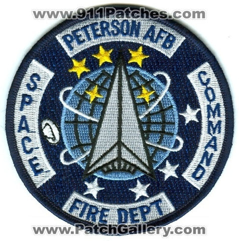 Peterson Air Force Base AFB Fire Department Space Command USAF Military Patch Colorado CO
