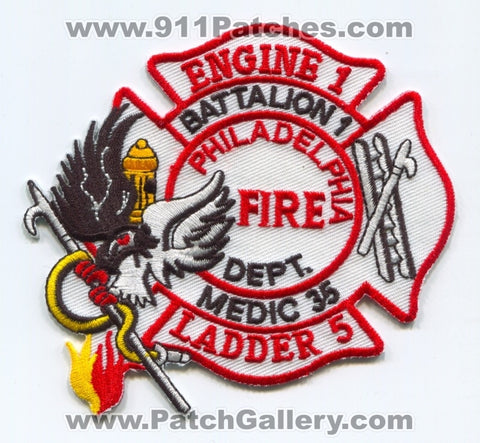 Philadelphia Fire Department Engine 1 Ladder 5 Medic 35 Battalion 1 Patch Pennsylvania PA
