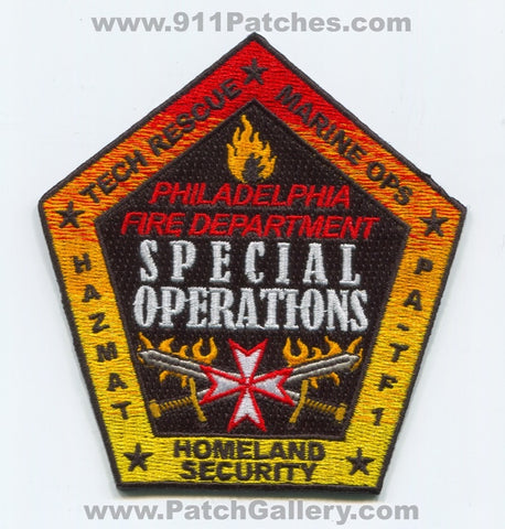 Philadelphia Fire Department Special Operations Patch Pennsylvania PA
