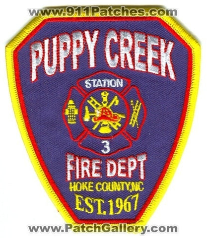 Puppy Creek Fire Department Station 3 Patch North Carolina NC