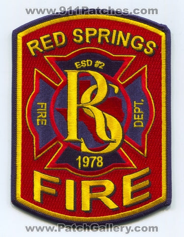 Red Springs Fire Department Smith County ESD 2 Patch Texas TX SKU911-1