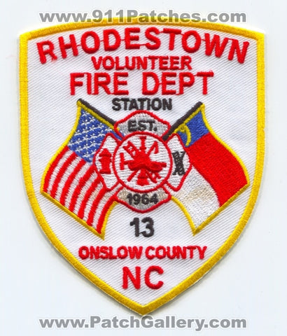 Rhodestown Volunteer Fire Department Station 13 Patch North Carolina NC