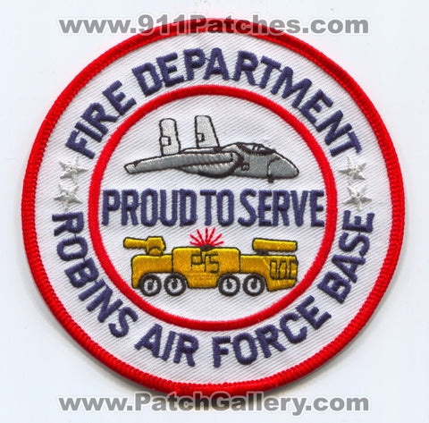 Robins Air Force Base AFB Fire Department USAF Military Patch Georgia GA